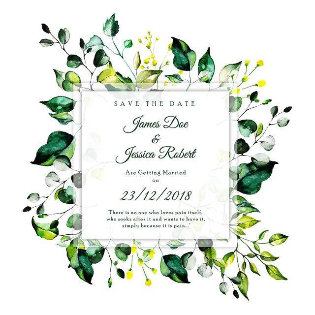 Beautiful Watercolor Floral Wedding Invitation Card In 2020 Floral Wedding Invitations Watercolor Floral Wedding Invitations Floral Wedding Invitation Card
