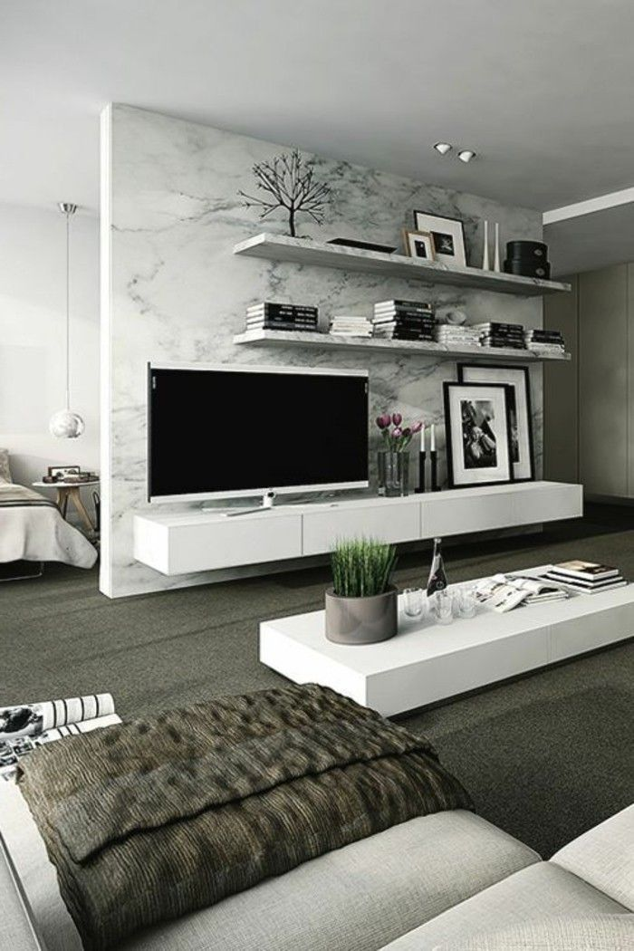 Interesting Modern Living Wall Design Tv And Wall Shelves