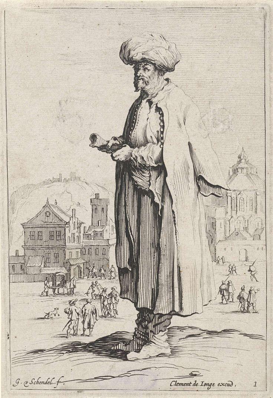 Gillis van Scheyndel (I) | Man met tulband, Gillis van Scheyndel (I), Clement de Jonghe, 1649 - 1653 | Een man in oosterse kleding, met een tulband op het hoofd en een rol papier in de handen, staat voor een stad. De prent is onderdeel van een serie van twaalf prenten met staande figuren.