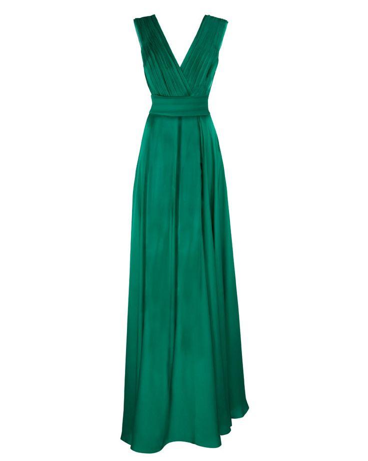 Seis tendencias must para la noche de graduación: Vestido esmeralda de cuello en V y tirantes drapeados, Carolina Herrera.  http://www.glamour.mx/moda/articulos/vestidos-graduacion-trends/1529