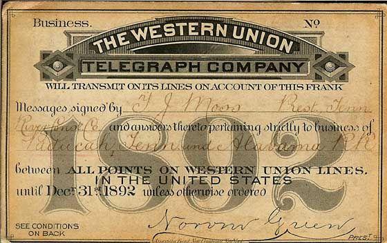 Western Union Telegram - Sometimes good newsand sometimes bad.