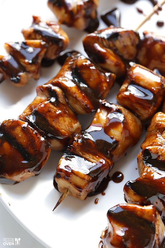 Easy Balsamic Chicken Skewers -- 4 ingredients, and perfectly sweet and savory! | gimmesomeoven.com