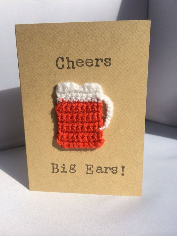 Handmade Beer Glass Crochet Birthday Card Cheers Big by Boobellini