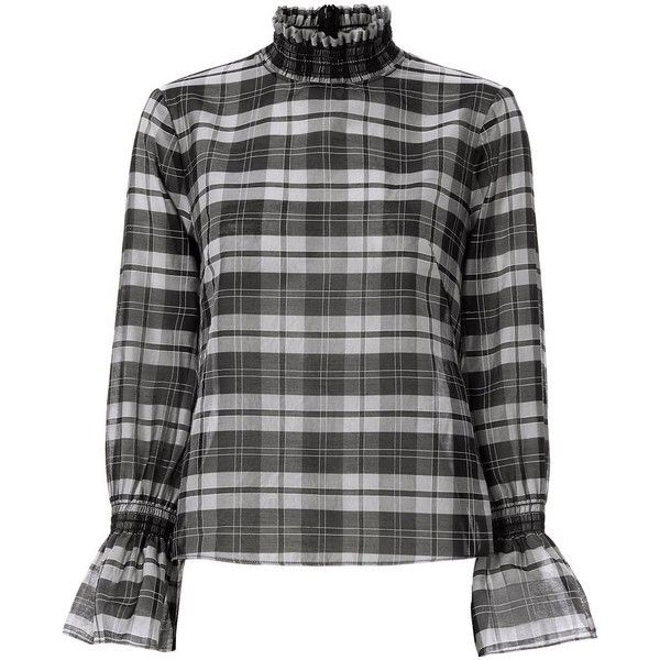 Intermix Women's Lulu Plaid Top ($265) ❤ liked on Polyvore featuring tops, smock top, layered tops, sheer top, grey long sleeve top and high neck long sleeve top