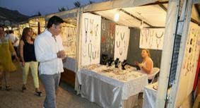 Bodrum Mayor Mehmet Kocadon visiting Turgutreis Street Artists and Craft Vendors