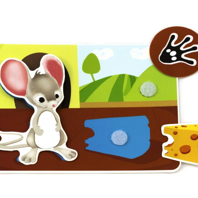 "Picnmix ""Happy Farm""  mouse card.  What does the mouse like to eat?  What does his footprint look like?"