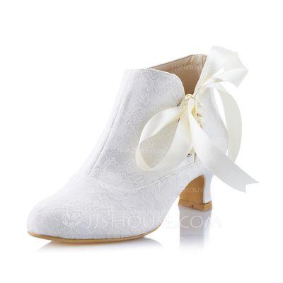 Kvinnor Stängt Toe Pumps Spool Heel Spetsar Bandage Bröllopsskor