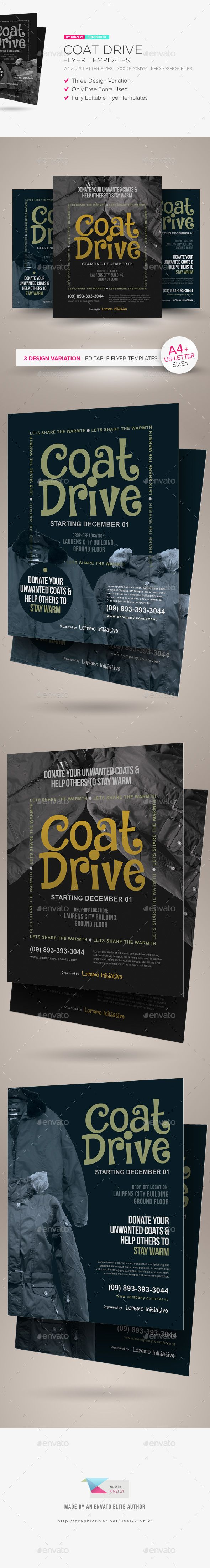 Coat Drive Flyer Templates — Photoshop PSD #donation #blanket • Download here ➝ https://graphicriver.net/item/coat-drive-flyer-templates/21131275?ref=pxcr