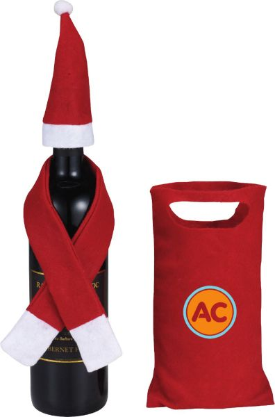 Holiday Vino Set.  Accessorize a wine bottle with this decorative holiday mini hat and scarf. Includes pouch.  #wine #vino #giftset #cute #giveaway #customize