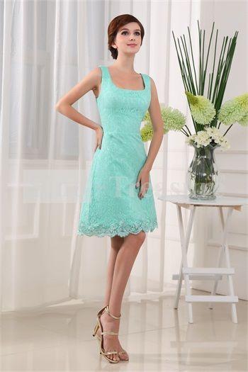 Aqua Satin/Lace Square Hourglass Sleeveless A-Line Cocktail Dress/Homecoming Dress -Wedding & Events-Special Occasion Dresses-Cocktail Dresses/Homecoming Dresses