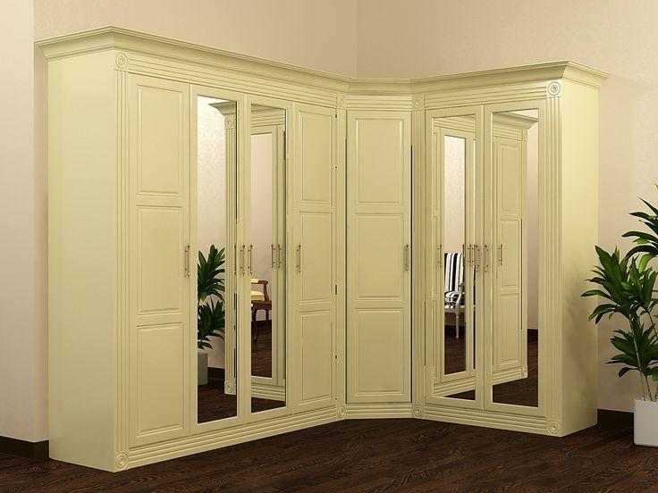Шкаф угловой. Классика. Фрезеровка, зеркало. Классическая мебель. Интерьер в классическом стиле. Производитель Деметра Вудмарк.