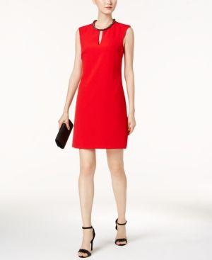 Donna Ricco Beaded-Neck Sheath Dress - Red 16