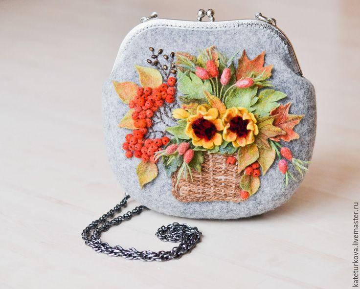 """Купить Валяная сумочка """" Шепот листьев"""" - серый, цветочный, сумка ручной работы"""