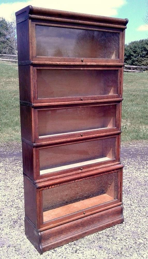 Antique Oak 5 Stack Barrister Bookcase Globe Wernicke C