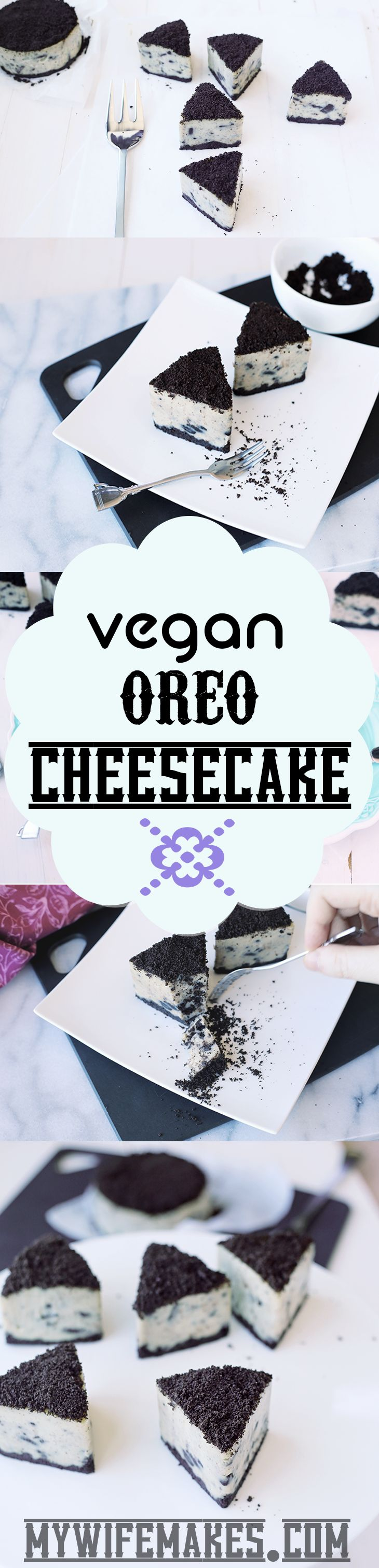Delicious Vegan Oreo Cheesecake! Cashew based, easy to make and 100% Delicious!!! Yummmm!!! #vegan #veganfood #oreo #cheesecake