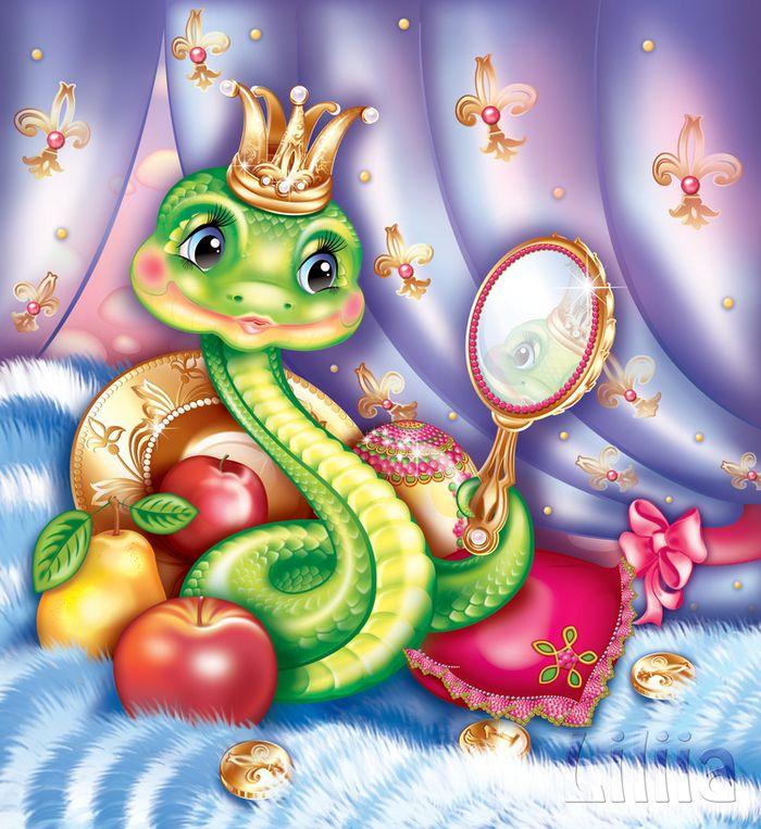 Змейка картинка прикольная, подруг надписями