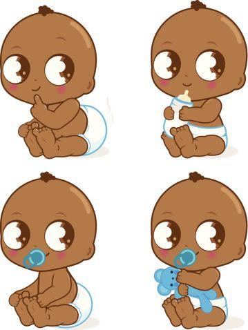 Adorable bébé garçon afro-américain - Illustration vectorielle