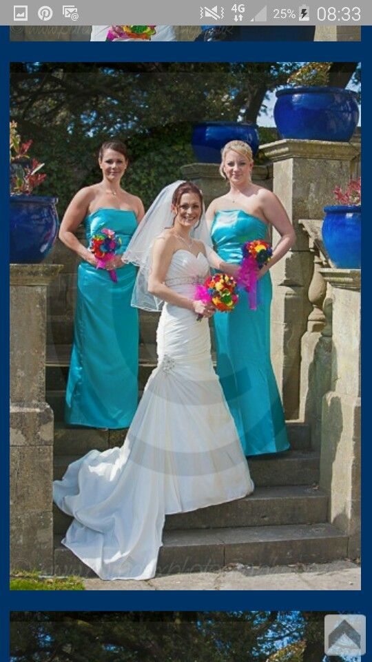 Mia Solano bridal gown and bridesmaid dresses that I made. Fabric flower bouquets