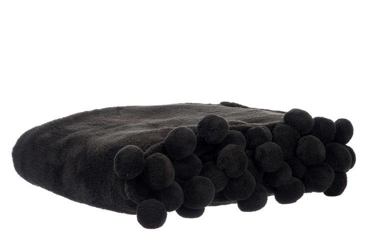 Plaid à pompons noir Jolipa sur lmladeco.com