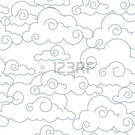Seamless stylized clouds pattern Stock Vector