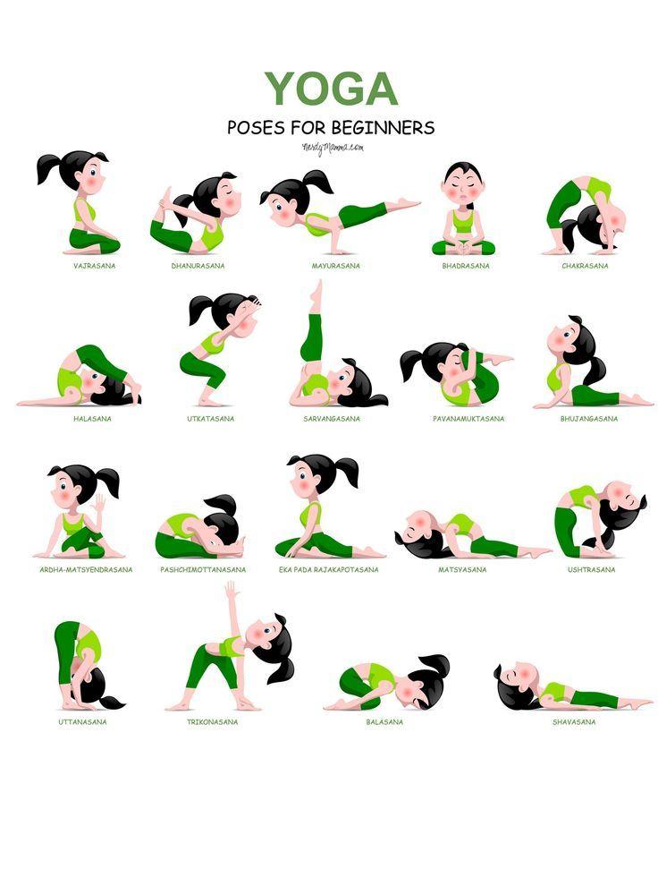 20 einfache Yoga-Posen für Anfänger mit einem kostenlosen Ausdruck amzn.to/2rssXLv