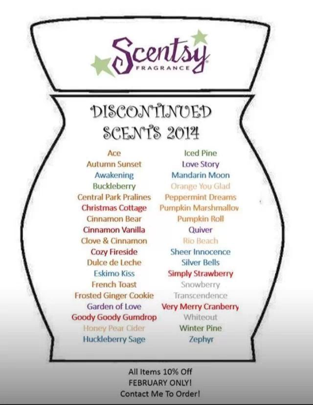 Scentsy 2014 Discontinued Scents, stock up on your favorites.