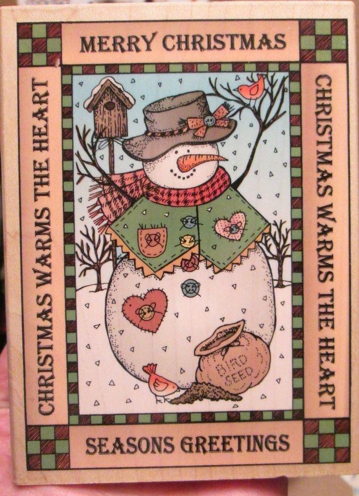 Big Hero Arts Greetings Snowman rubber stamp Winter Christmas stamper EUC 5x4 #HeroArts