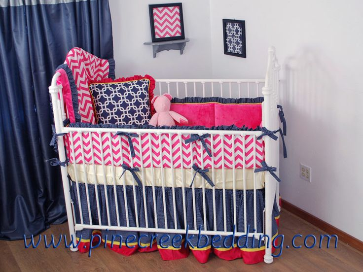 Navy And Hot Pink Chevron Crib Bedding In The Nursery
