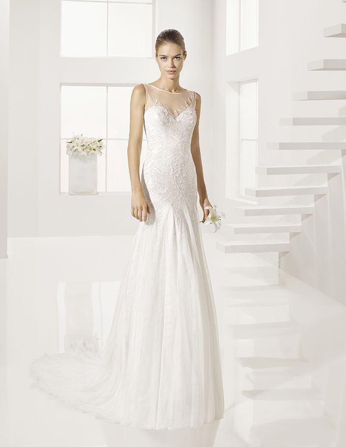 Gunter - Beaded soft tulle dress, in natural.