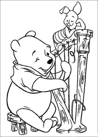 Pooh Is Playing A Harp Coloring Page Mit Bildern Harfe