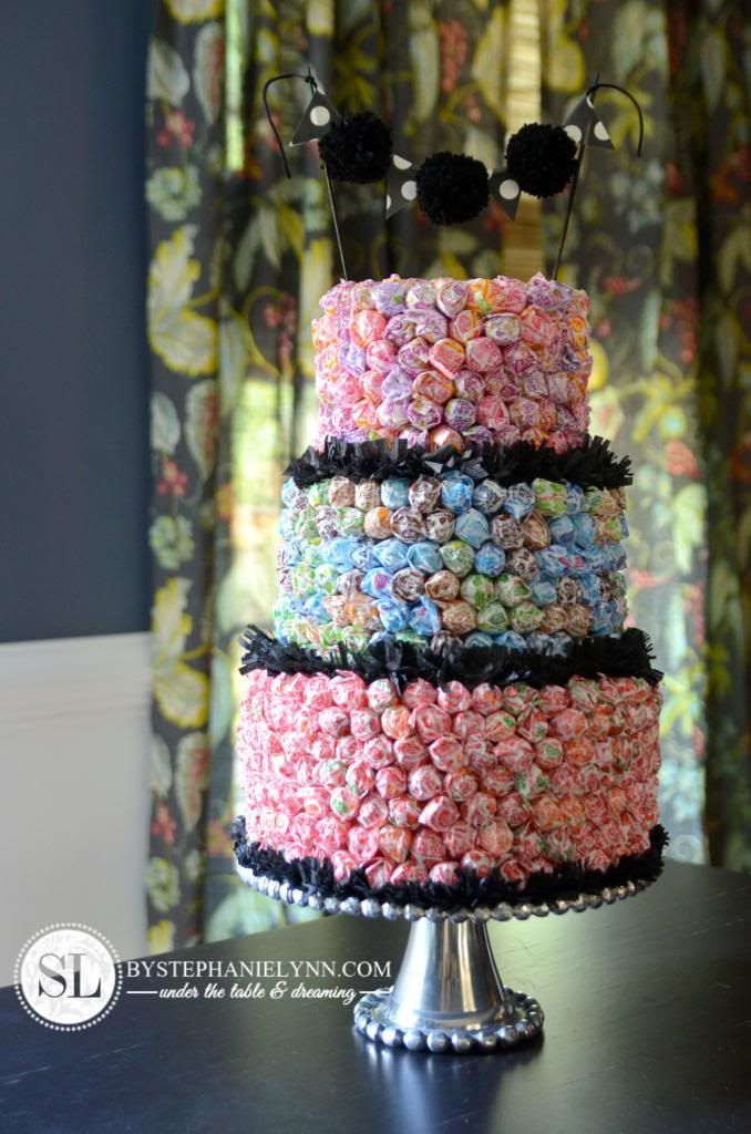 Dum Dum Lollipop Cake | an allergy free candy display - bystephanielynn
