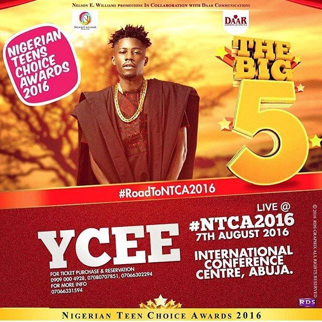 @iam_ycee will be LIVE at the Nigerian Teens Choice Awards on August 7th. Go get your tickets now if you haven't! #NTCA2016 #Steevane #SV