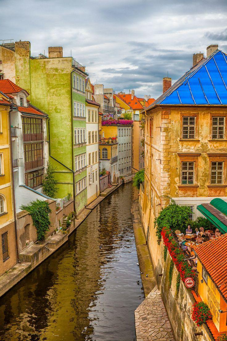 Canal by Charles Bridge in Prague, Czech Republic