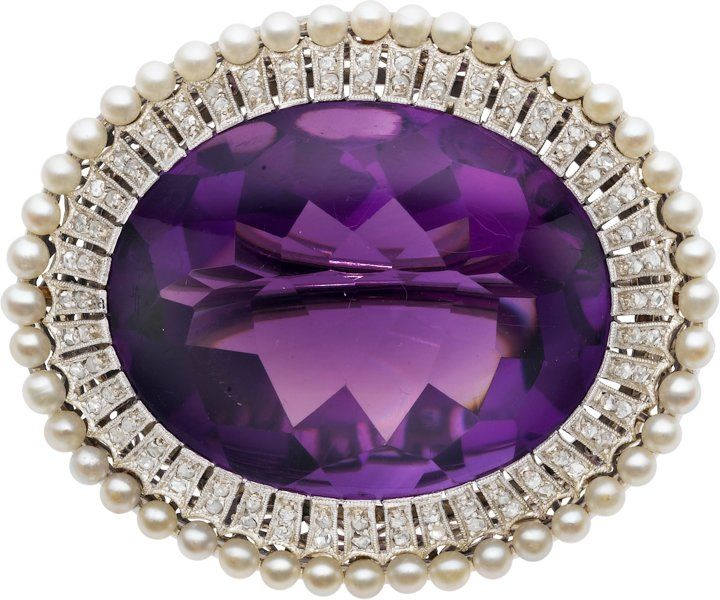 Amethyst, Diamond, Cultured Pearl, White Gold Brooch.