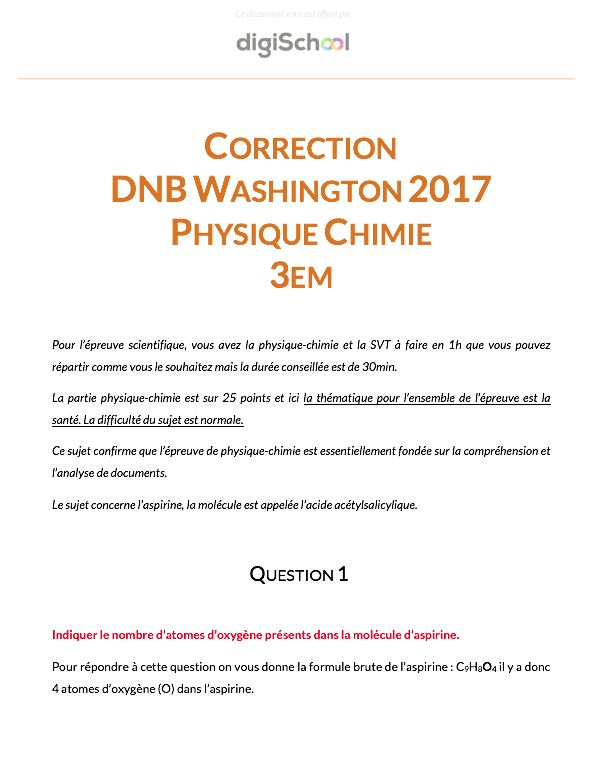Corrigé Sciences Brevet Washington 2017