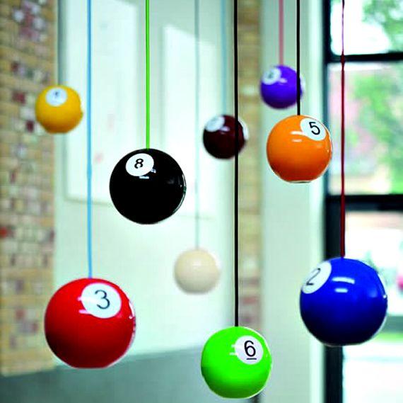 Billiard ball pendant lights -- game room must