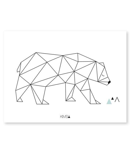 Affiche géométrique ours