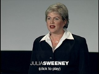 """Julia Sweeney: Letting go of God  Julia Sweeney (God Said, """"Ha!"""") performs the first 15 minutes of her 2006 solo show Letting Go of God. When two young Mormon missionaries knock on her door one day, it touches off a quest to completely rethink her own beliefs."""