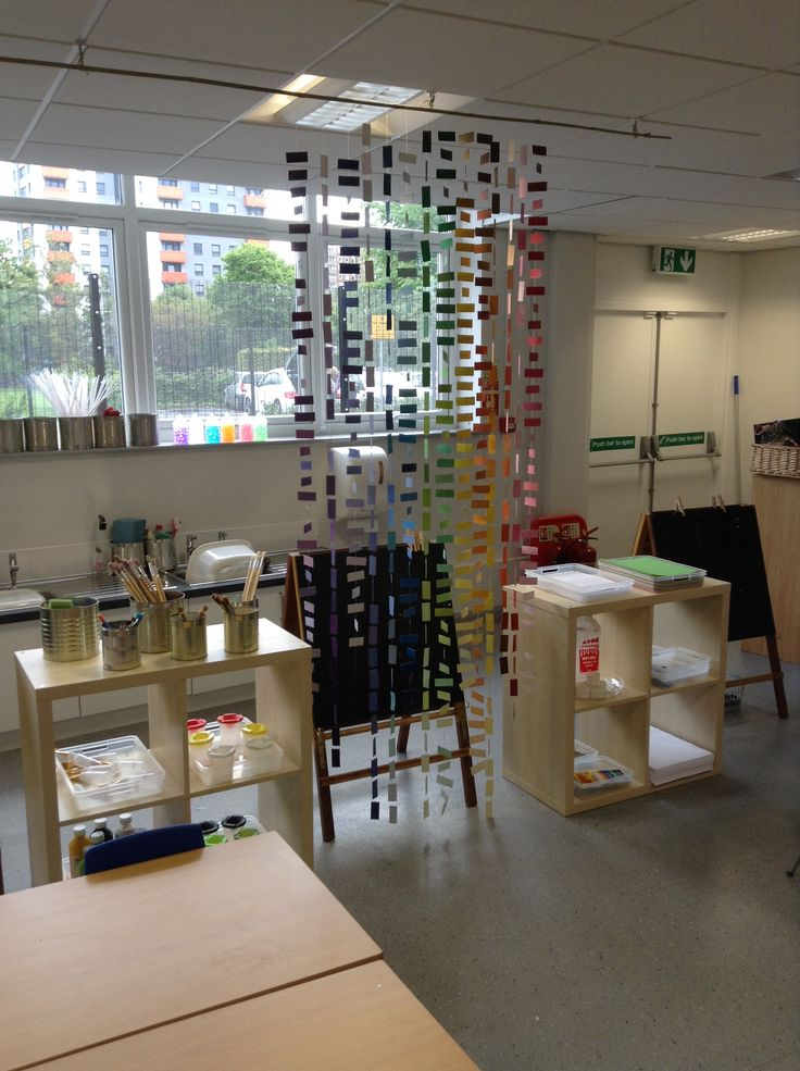 New classroom! Creative art area, where children can self select their resources to use the easels. (We have separate tables for junk modelling and cutting/sticking etc) The hanging colour chart is made from cut up paint colour charts, stuck onto long pieces of cotton. Cheap, easy and very effective!