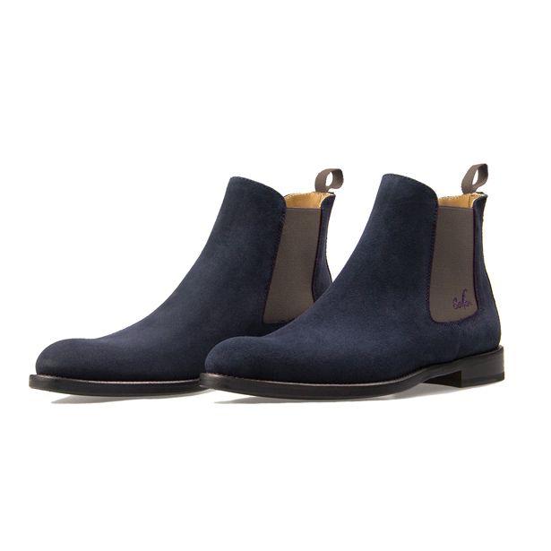 Serfan Chelsea Boot Women Blue Suede Grey Spandex