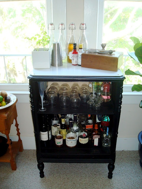 DIY bar (with a cutting board top) from an old radio cabinet!