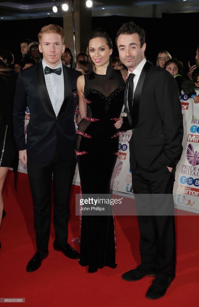 Neil Jones, Katya Jones and Joseph McFadden attend the Pride Of Britain Awards at Grosvenor House, on October 30, 2017 in London, England.