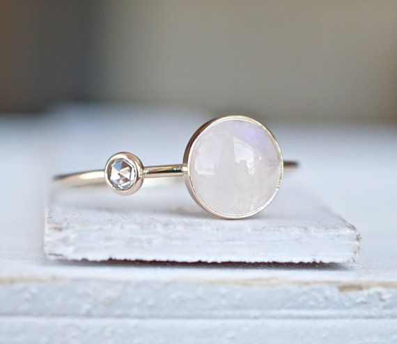 Diamond Ring Rainbow Moonstone Ring Engagement Ring by Luxuring