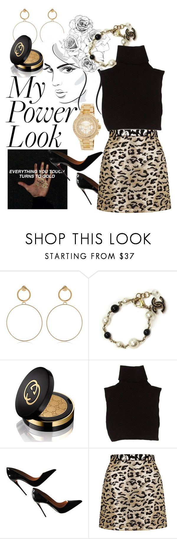 """""""el dia de hoy"""" by floo-carriillo ❤ liked on Polyvore featuring Maria Francesca Pepe, Chanel, Gucci, Marc Jacobs, Christian Louboutin, Topshop and MICHAEL Michael Kors"""