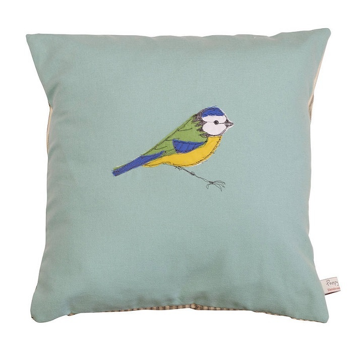 Embroidered Blue Tit Cushion