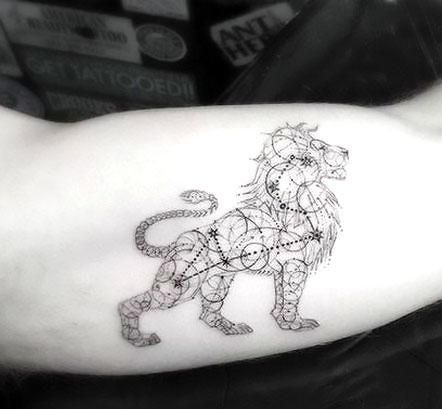 Fine line leo lion on the bicep. Style: Fine Line. Color: Black. Tags: Cool, Creative, Nice, Hipster