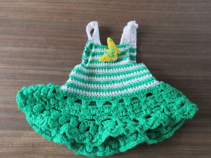 Baby girls hand crochet green & white dress with yellow butterfly approx 6-12 m
