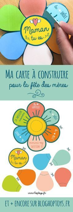 Carte de fête des mères à construire...also possible to use for bridal shower with questions for the bride on how they met etc. A spinning game idea.
