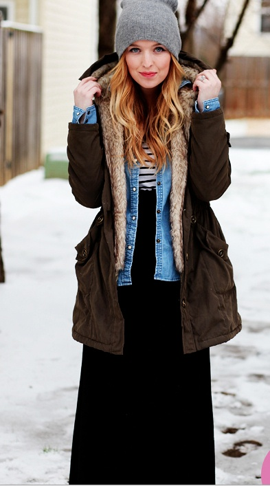 Winter Maxi: Dress it down on the weekend with a little chambray, a cozy beanie, and a mix of texture. #winter #maxi #wintermaxi