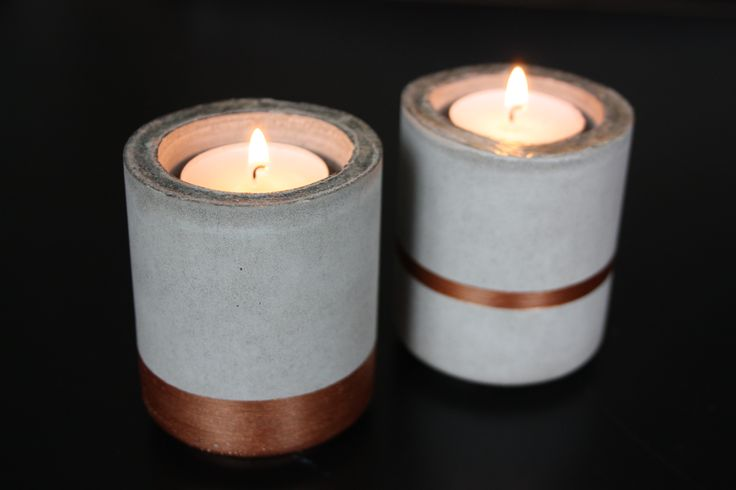 Homemade Concrete Candle Holders with Copper   Mogina Home